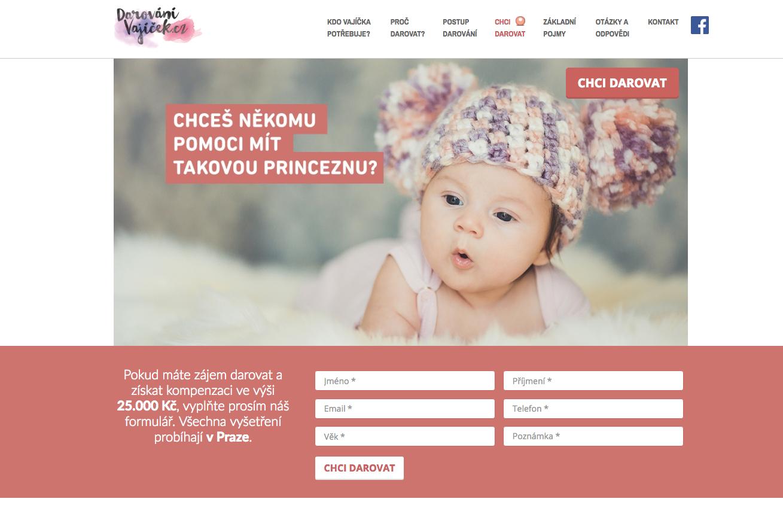 Darování vajíček - webové stránky, programming, CMS