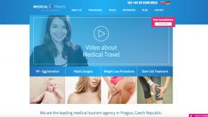 Ukázka hlavní stránky webu Medical Travel Czech Republic